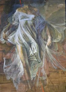 """Peinture de Safet Zec lors de l'Inauguration de l'exposition """"la peinture et la vie"""" au Musée de l'Hospice Comtesse le 11 oct 2016 - Photo : Virginie Chrétien, Le Chêne parlant."""